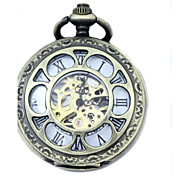 Men's Mechanical Gold Skeleton Bronze Alloy Pocket Watch Cool Watch Unique Watch