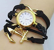 Women's Infinity Boat Anchor Leather Weave Band Quartz Analog Bracelet  Watch(Assorted Colors)