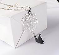 European Titanium Steel Maple Leaf and Butterfly Pendant Necklace
