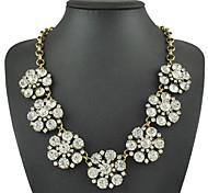 Fashion White Zircon Seven Flower Necklace