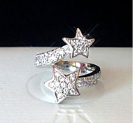 Women's South Korean Jewelry Studded With Diamond Pentagram Ring Alloy Openings To Quit
