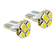 T10 1W 5x2835 SMD 35lm 3000K Warm White Lights LED Bulb for Car License Plate Door Lamp (DC 12V , 2-Pack)
