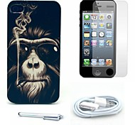 Smoking Monkey Pattern Hard Case and Screen Protector and Stylus and Cable for iPhone 4/4S