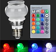 RGB Light LED With Remote Controller - Silver + White (AC85~265V)180lm 3W E27