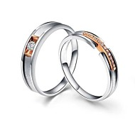 I FREE®S925 Silver Mosaic Diamond And Platinum Plated Rose Color Couple Rings 2 pcs