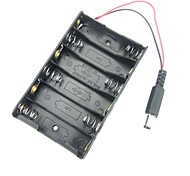 6-Aa Battery Holder Battery Box With 9mm Solder DC Power Plug for Arduino