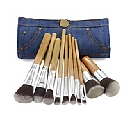 10 Carbonized Bamboo Handle Fiber Brushes Hair Brushes + Cowboys Brushes Bag