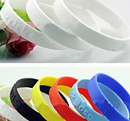 Lureme®Silicone Wristband Sports Bracelet(Random Color)