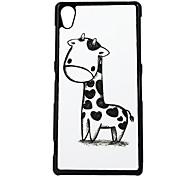 Heart Giraffe Leather Vein Pattern Hard Case for Sony Z2