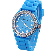 Women's Crystal Case Silicone Band Quartz Analog Wrist Watch (Assorted Colors)