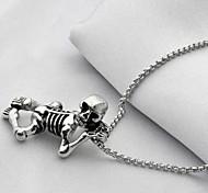 de acero de titanio personalidad de la moda del cráneo lindo collares colgantes de los hombres
