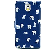 Elephant Cartoon Pattern PU Leather Case with Stand Card Holder for Samsung Galaxy Note 3 N9000