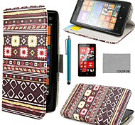 COCO FUN® Grey Tribal Pattern PU Leather Full Body Case with Screen Protector, Stylus and Stand for Nokia Lumia N520