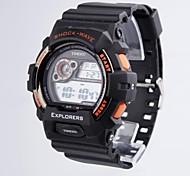 cadran rond bracelet pu dessin animé multifonctionnel des hommes time100 conduit sport double affichage montre électronique