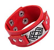 Punk  20cm Men's Black,Red Leather Leather Bracelet(Black,Red)(1 Pc)