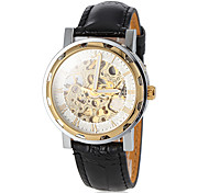 Men's Auto-Mechanical Noble Gold Skeleton Black Leather Band Wrist Watch (Assorted Colors)