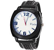 reloj de silicona negro dial de estilo simple de la muñeca banda de los hombres (colores surtidos)
