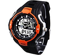 Time100 Students' Round Dial PU Strap LED Dual-time Display Multifunction Sport Electronic Watch