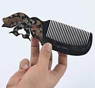 Natual 18x5cm Carved Mandarin Duck Black Horn Comb
