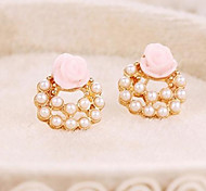 New Star Lovely Elegant Pearl Earring Roses