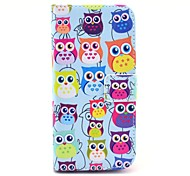 Colorful Owl Pattern PU Leather Cover with Stand and Card Slot for iPhone 6/6S