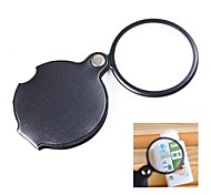 Pocket 6X Coating Optical Lens Magnifier with Rotatable PU Leather Cover
