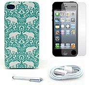 Elephant Tribal Pattern Hard Case and Screen Protector and Stylus and Cable for iPhone 4/4S
