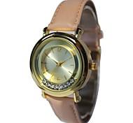 Women's Special Vintage Pink Leather Strap Round Case Scrollable Diamond Japan Quartz Movement Wristwatch