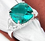 Square Green Quartz Gemstone Silver Ring 1PC