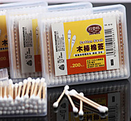 200Pcs Cotton Swabs Wooden Stick