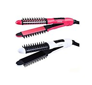 26mm Red White Mini 2 In 1 Hair Curling Iron straightening Iron Straightener Styling Brush Hair Styler 220V with EU Plug