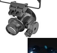 Art der Gläser 20x Lupe mit weißem LED-Licht (2 x CR1620)
