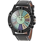 pelle Quadrante colorato orologio quarzo della fascia degli uomini