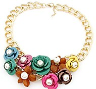 European Style Luxury Sweet Colored Flowers Short Necklace