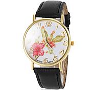 Women's Flower Pattern Dial Gold Case PU Band Quartz Wrist Watch (Assorted Colors)