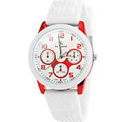 Men's Simple Style Sporty Round Dial Silicone Band Quartz Wrist Watch (Assorted Colors)