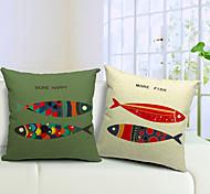 Набор из 2 карикатуры рыб хлопок / белья декоративную подушку крышку