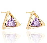 Women New Style Fashion Triangular Design Gold Plating Zircon Earrings