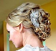 lega della piuma di cristallo del rhinestone dell'annata sposa capelli pettine femminile
