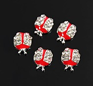 10pcs Cute Ladybug Shape Red Drip Oil 3D Rhinestone Alloy Nail Art Decoration