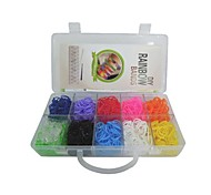 1000pcs Rainbow Color Loom Style DIY Twistz Silicone Rubber Bracelets Set with 25 S-clips, and 1 Hook 10 Color
