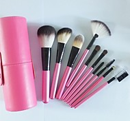 10Pcs Pink Makeup Brush with A Cylinder