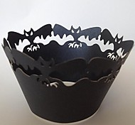 Хэллоуин летучая мышь кекс обертки, лазерная резка, вечере украшения 60pcs