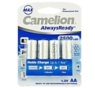 Camelion AlwaysReady 2500mAh Low Self-discharge Ni-MH AA Rechargeable Battery (4pcs)