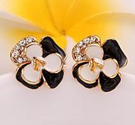 Fashion Flower Black-White Golden Gold-Plated Stud Earrings(Black-White Golden)(1Pair)