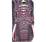 motif de l'éléphant style tribal portefeuille de style stand de rabat magnétique pc + étui en cuir PU pour Huawei Ascend Y330