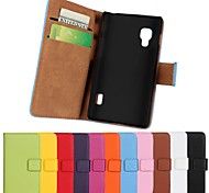 Solid Color Pattern Genuine Leather Full Body Case with Stand and Card Slot for LG Optimus L5 II