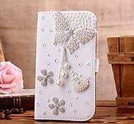 Diamant Bowknot pendent und Blütenblatt PU-Leder Ganzkörper-Case mit Ständer und Card Slot für iPhone 4 / 4S