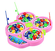 Funny Turntable Game Fishing Game Magnetic Fish Toy With Music 4 wheel(Assorted Color)
