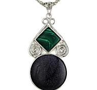 collana 60 * della lega a forma di zucca 25 millimetri blu turchese pietra preziosa delle donne annata (1pc)